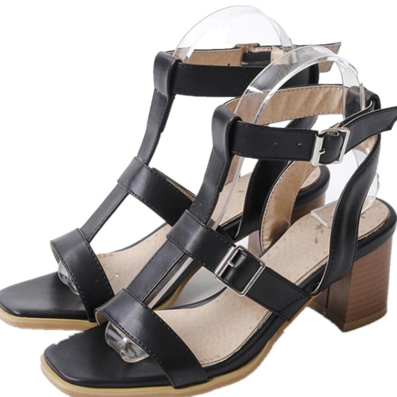 Dame Schuhe Sommer Dew Toe Rough Ferse Freizeit Bequeme Quadrat Ferse Gürtel Gürtel Studenten Drei Farben 7cm 35