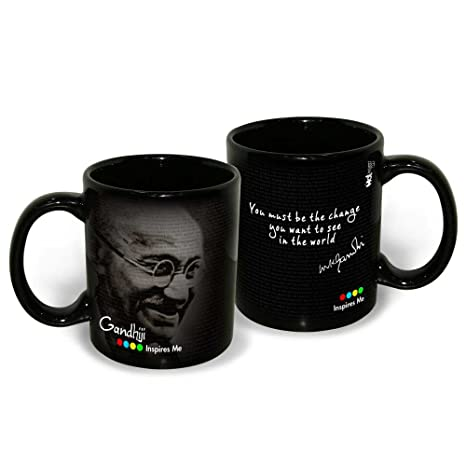 Hot Muggs Mahatma Gandhi Quote You Must be the Change Ceramic Inspirational Mug, 350ml Cups, Mugs & Saucers at amazon