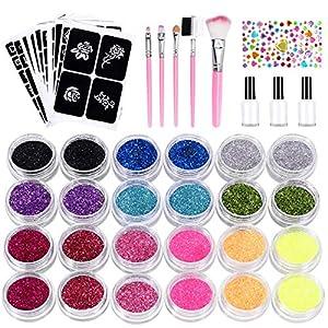 Kit Tatouage Paillettes, Nivlan Tatouages Temporaires Set de Maquillage Peintures avec 24 paillettes de Couleurs, Motif…