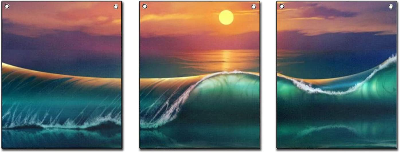 """Wall Decor 3 Piece Sunset Green Blue Ocean Wave Flag Tapestry, Hanging Poster with Rustproof Grommets Wall Art for Home Living Room Bedroom Dorm Office (12""""x16"""")"""