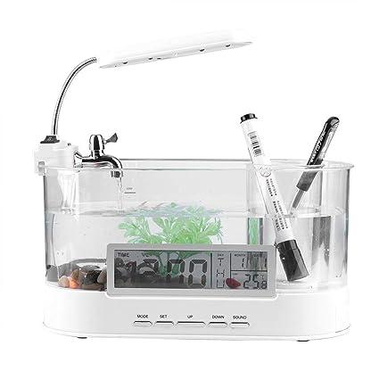 Zerodis Mini Acuario Recargable Multifuncional con Mini LCD lámpara de Mesa LED Reloj Calendario con Filtro
