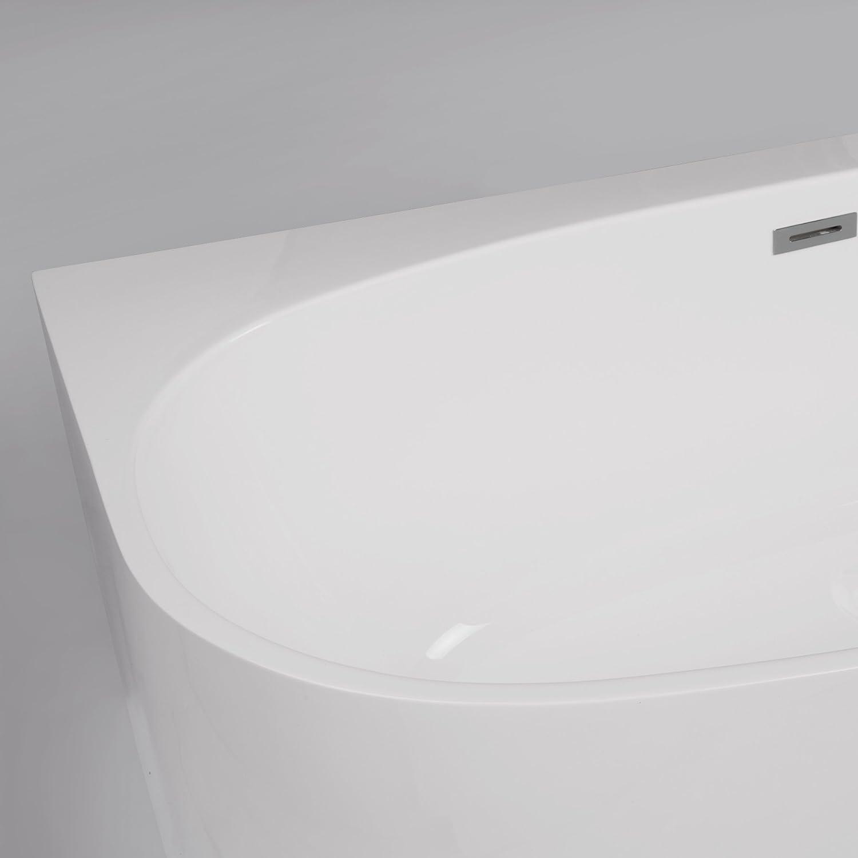 MAYKKE 68 Ocala Bath Acrylic Freestanding Alcove Wall Tub Modern Uniquely Shaped BathTub Soaker for Bathroom Lavatory Center Drain /& Overflow Rim Space for Accessories Storage White XDA1414001