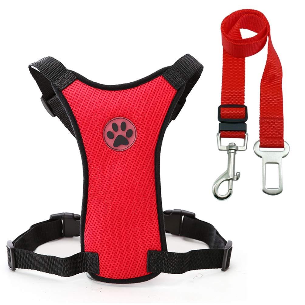 Red M Red M Jim Hugh Dog Harness Car Seat Leash Seat Safety Vehicle Dog Leash Belt Small Medium Large Pet French Bulldog Labrador