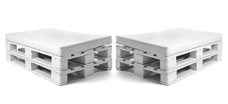 SUENOSZZZ-ESPECIALISTAS DEL DESCANSO Colchonetas para Sofas de Palet (2 x Unidades) Cojin Relleno con Espuma. Color Blanco | Cojines para Chill out, ...