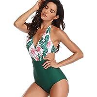 SweatyRocks Women's Halter One Piece Swimsuits Surplice Neckline Cut Out High Waisted Bathing Suit