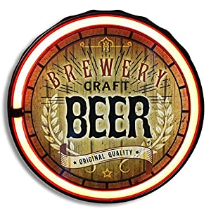 Brewery Craft Beer LED Neon Rope Sign, LED Light Rope With Neon Like Effect, 12″ Round Bottle Cap Shape, Batteries Or Plug-In, Ready To Hang In Home, Bar, Garage, Or Man Cave