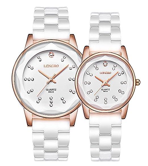 blancos relojes pulsera de cuarzo de cerámica de los hombres ocasionales del brazalete del reloj reloj