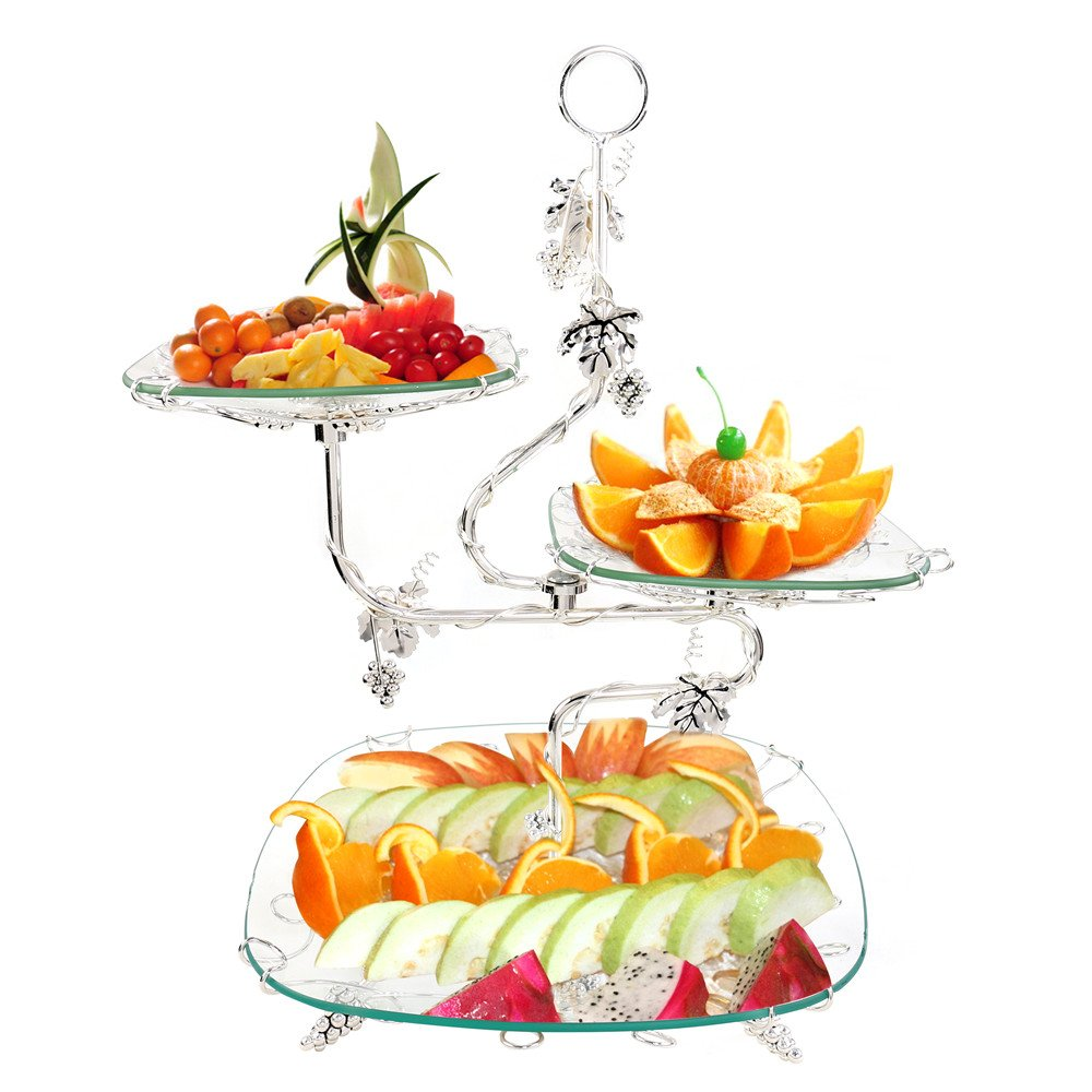 3 Tiered Glass Server Trays Stand Serving Platters Dishes Rectangle Plates Decorative Tabletop Centerpieces Display Food Fruit Cake Buffet for Wedding Birthday Party Supplies Home Decor - Silver