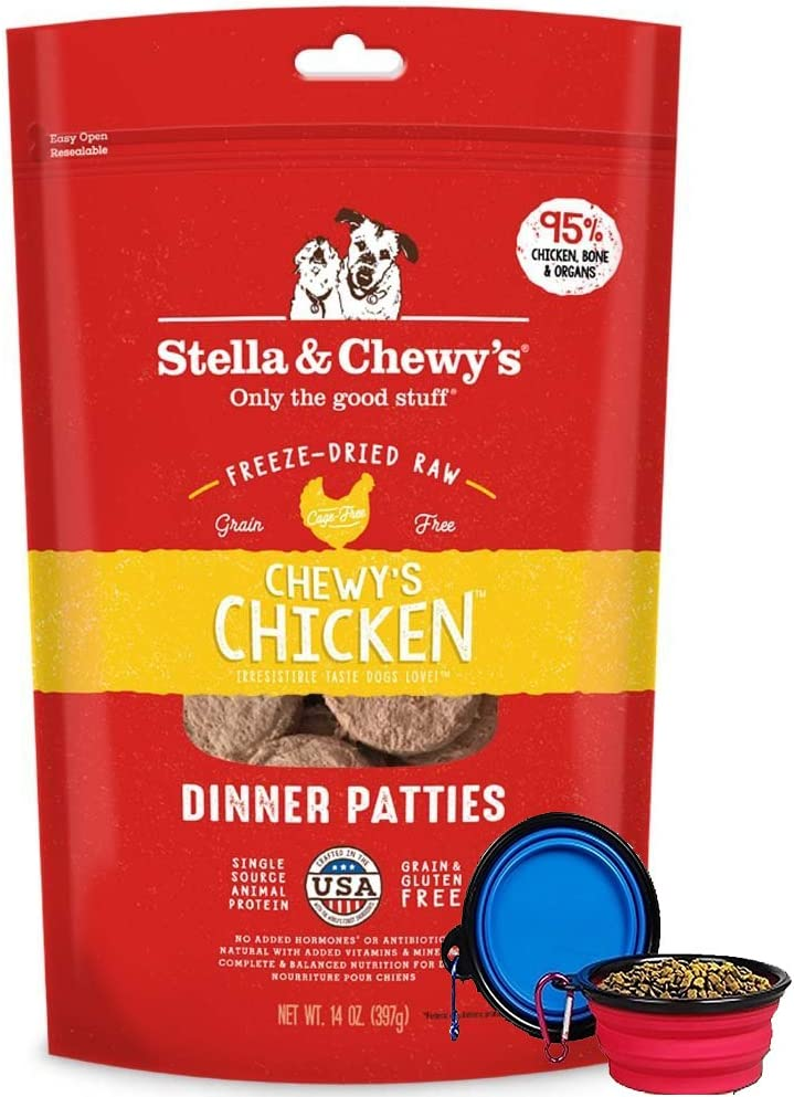Stella & Chewy's Freeze Dried Dog Food,Snacks 14-OZ Bag With Hot Spot Pet Food Bowl - Made in USA (Chicken Flavor)