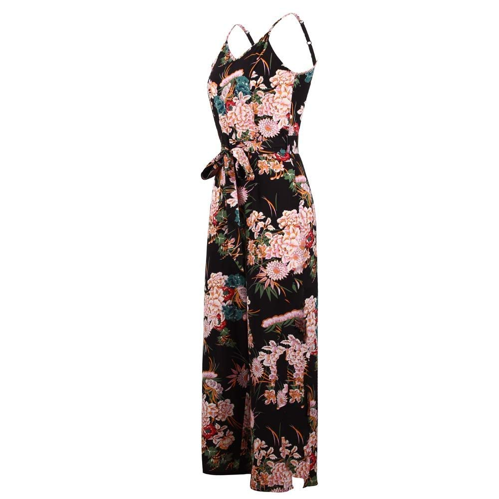 GWshop Ladies Fashion Elegant Jumpsuit Women Jumpsuits Strappy Floral Printed Slit Long Holiday Trouser Playsuits Black S by GWshop (Image #3)