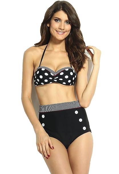 0cc45c4a55a29 Amazon.com  Black and White Polka Dot High-Waisted Bikini Set  Clothing