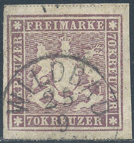 Goldhahn Württemberg Nr. 42a gestempelt mit Fotobefund Heinrich - Briefmarken für Sammler