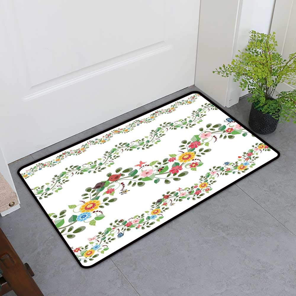 TableCovers&Home Universal Door Mat, Green Flower Decorative Rugs for Kitchen, Horizontal Foliage Pattern Ornamental Abstract Design Vintage Style Romance (Multicolor, H36 x W60)