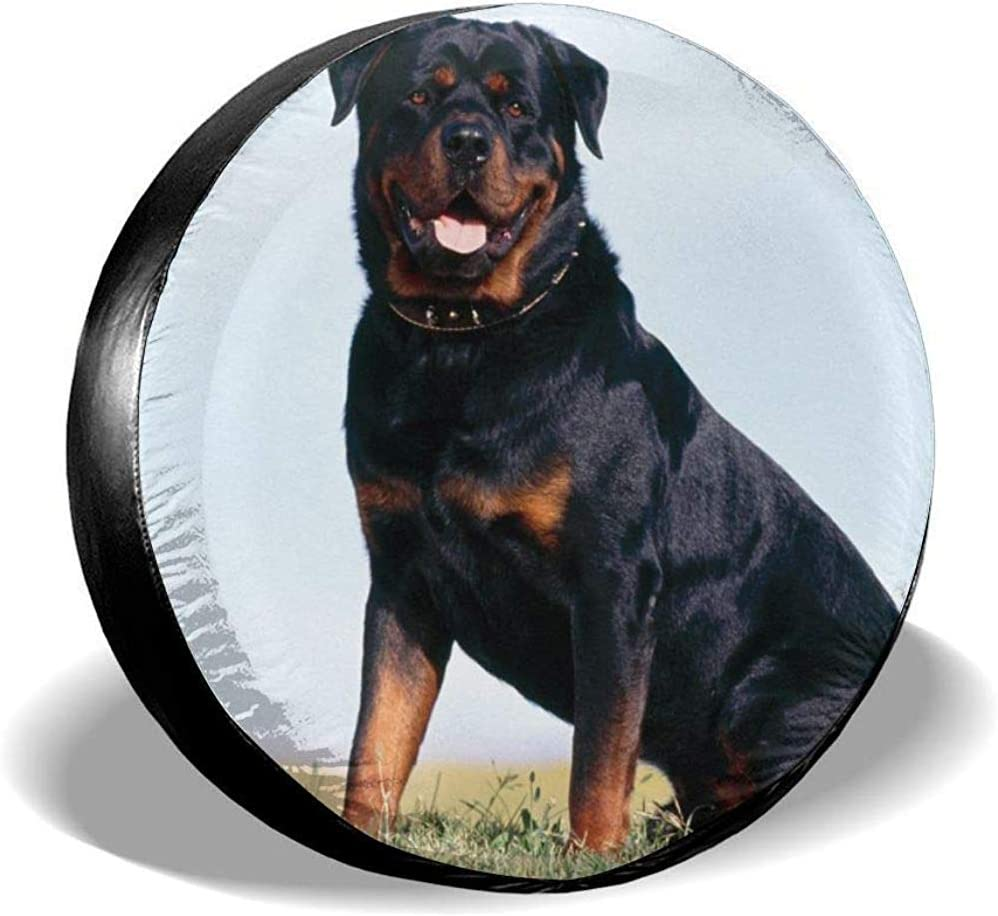 Not Applicable Tire Protectors Weatherproof,Polyester Wheel Covers,Universal Spare Tire Cover,Rottweiler Dog Black Tire Cover Universal For Suv,Truck,Rv,Vehicle,Camper Travel Trailer 16in