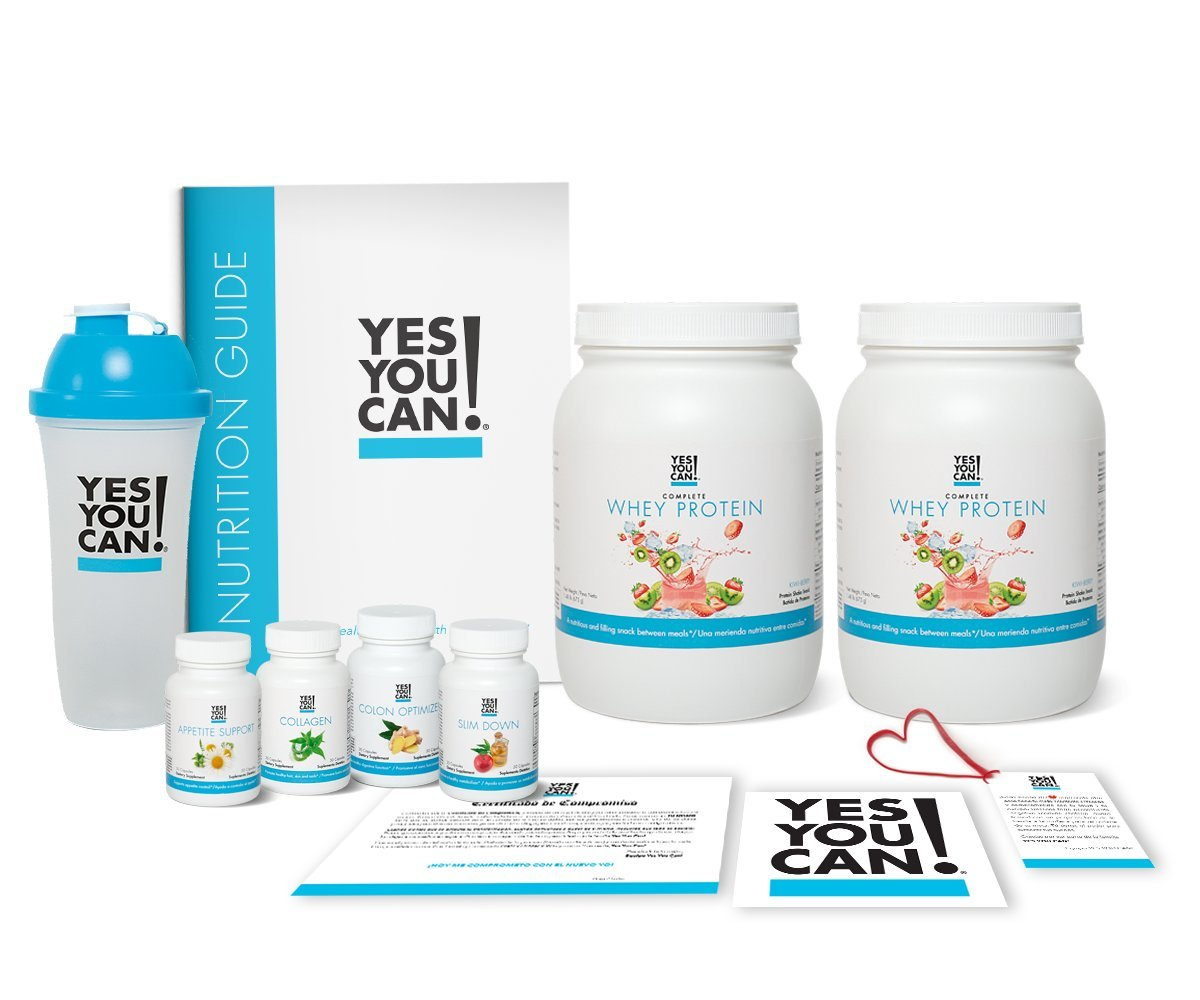 Yes You Can! Transform Kit: Food Lover 60 Servings, Twice a Day, Contains: Two Complete Whey Protein Kiwi-Berry, One Slim Down, One Appetite Support, One Collagen, One Colon Optimizer, One Shaker