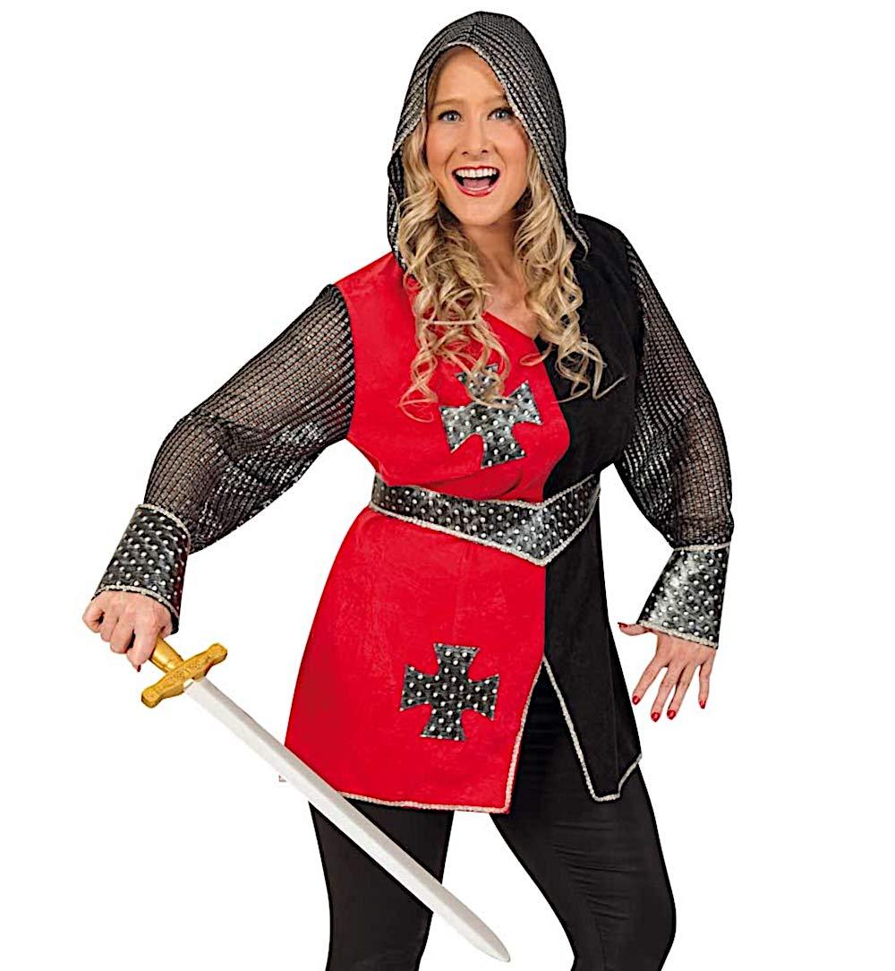 KarnevalsTeufel Damenkostüm Ritterin Jeanne Oberteil mit Kapuze und Gürtel Rot Rot Rot Schwarz Kreuz (46) f84bbe