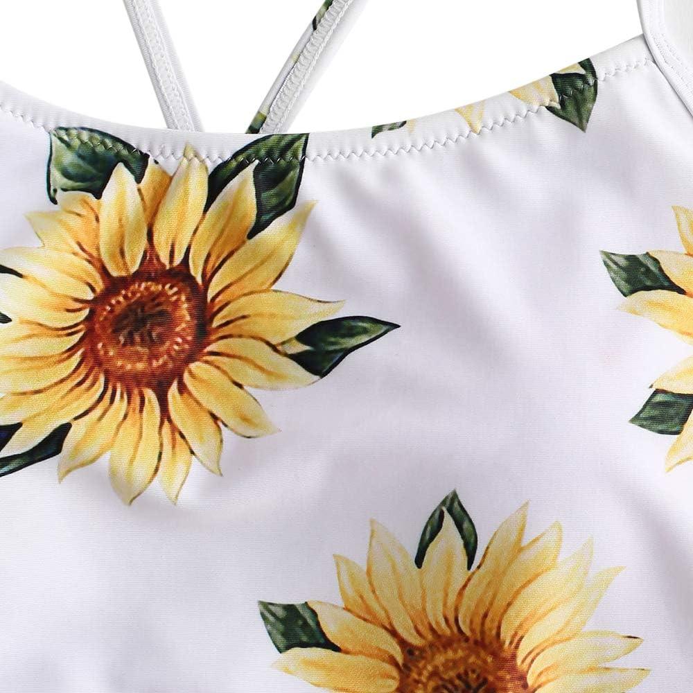 ZAFUL Damen Hohe Taille Sonnenblume Floral Lace-up Tankini Set Badeanzug