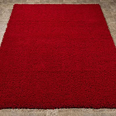 Ottomanson Soft Cozy Color Solid Shag Rug Contemporary Living and Bedroom Soft Shaggy Kids Rugs