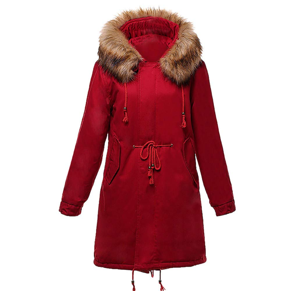 NEARTIME ❤️Women's Long Jacket, 2018 Winter Warm Lambswool Cotton Coat Solid Color Fur Collar Thicker Outwear Red