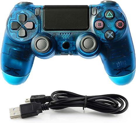 HALASHAO Controlador de PS4 Controller para Mando inalámbrico PS4 Controller Gamepad Joystick para Playstation 4,Transparent Blue: Amazon.es: Deportes y aire libre
