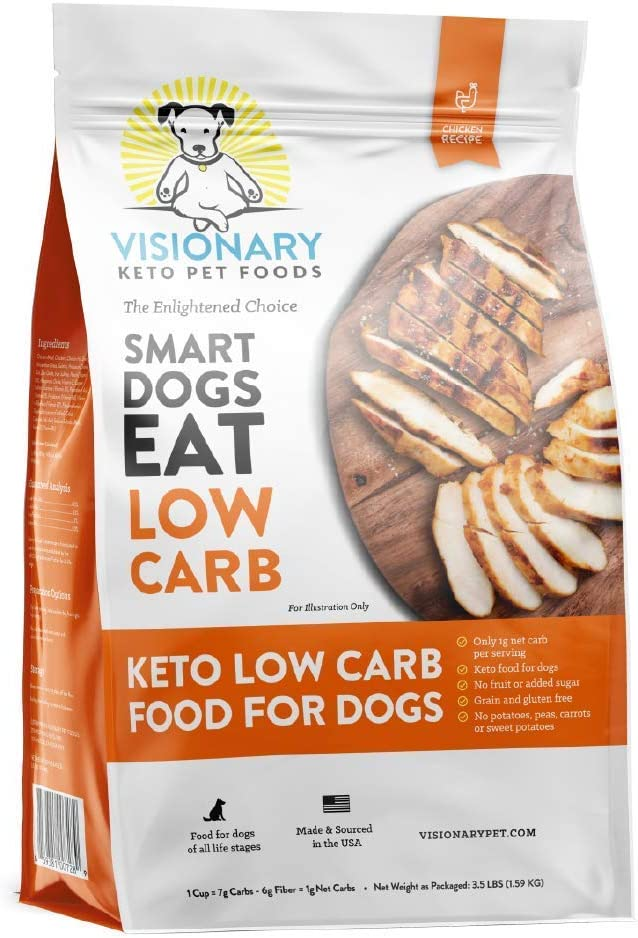 Visionary Pet - Keto Dog Food | Low Carb Kibble | High Protein | Natural Chicken Flavor | Grain Free Dry Dog Food with Natural Formula for Lifelong Health & Happiness