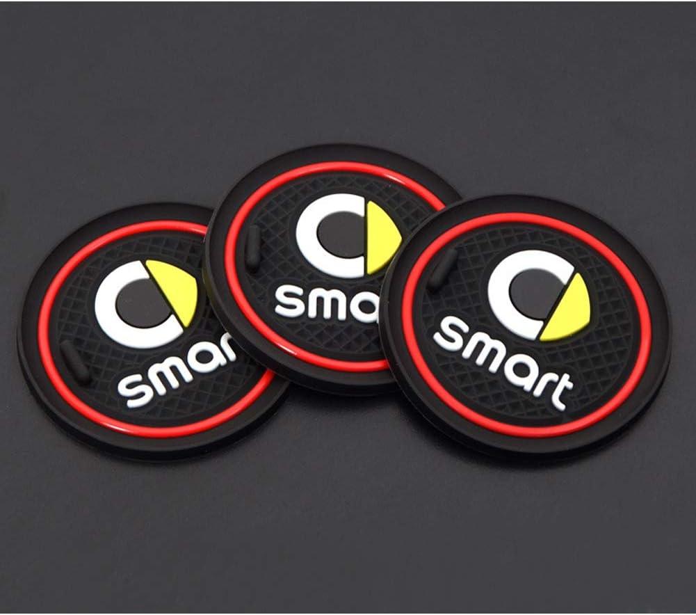 Anti-Slip Mats Red Inner Door Mats Water Cup Holder Door Slit Mat 6 Pieces LFOTPP Smart Fortwo Rubber Mats
