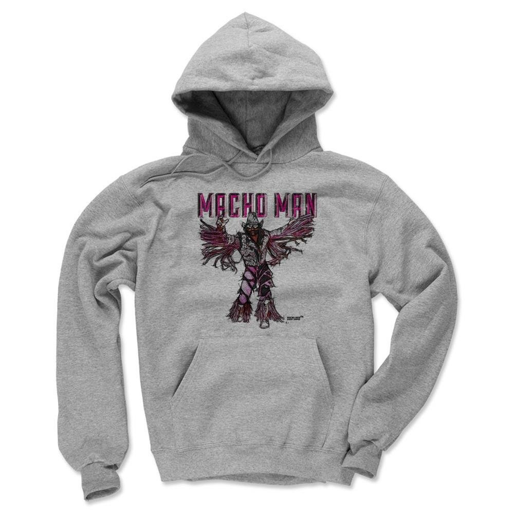 500 Level Macho Man Randy Savage Winter Hoodie XXL Gray - Macho Man Sketch P - Officially Licensed by Pro Wrestling Tees by 500 Level