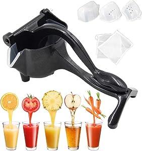 XSL Manual Juicer Orange Hand Press Lemon Lime Squeezer Metal Extractor Premium Quality for Party Drink Cocktail Mocktail Black