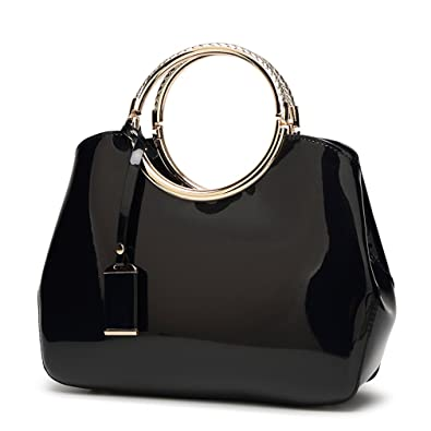 e389dac5263f Hoxis Charm Glossy Metal Grip Structured Shoulder Handbag Women Satchel