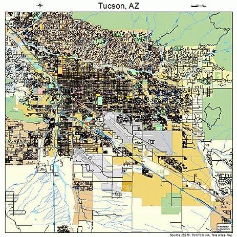 Amazon.com: Large Street & Road Map of Tucson, Arizona AZ - Printed ...