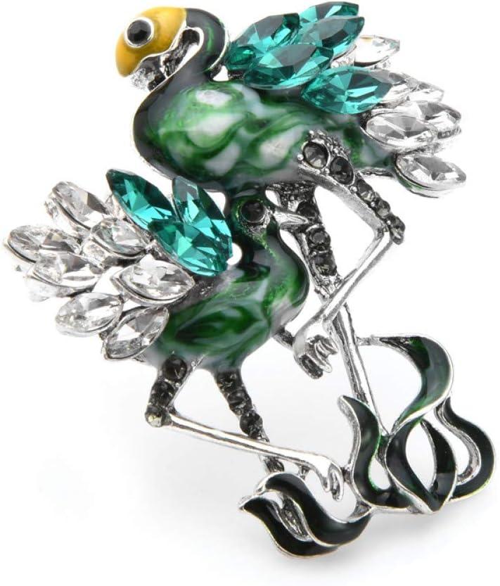 WYLYSD Broche Verde Azul Dos flamencos Broches de pájaros Mujeres Hombres Rhinestone Esmalte Broche de Animales Alfileres Regalos de mamá