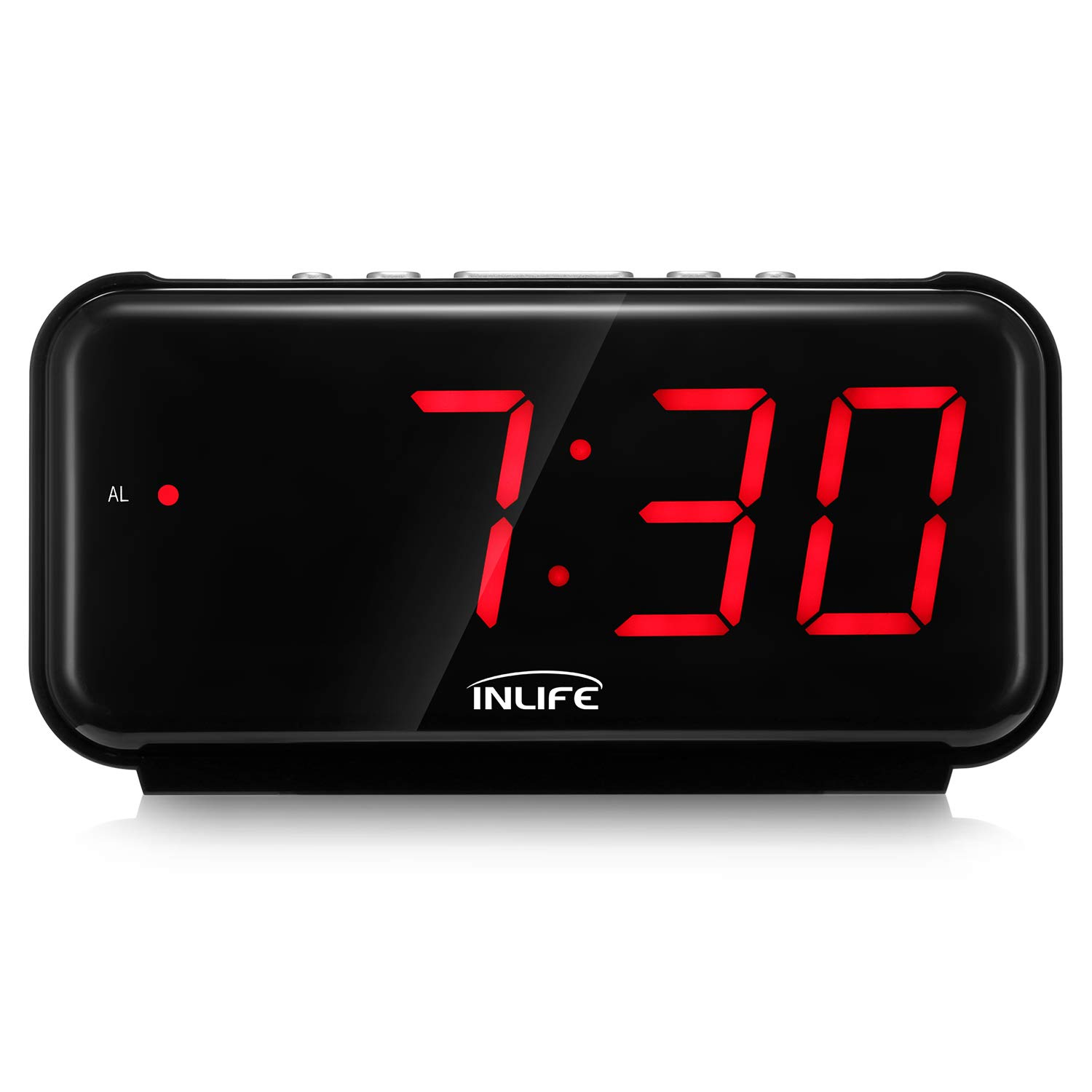 INLIFE Digital Alarm Clock Easy Use Clock with 6 7'' Large LED Display,  Snooze Function, Battery Operated Bedside Desk Clock for Kids, Home,  Office,
