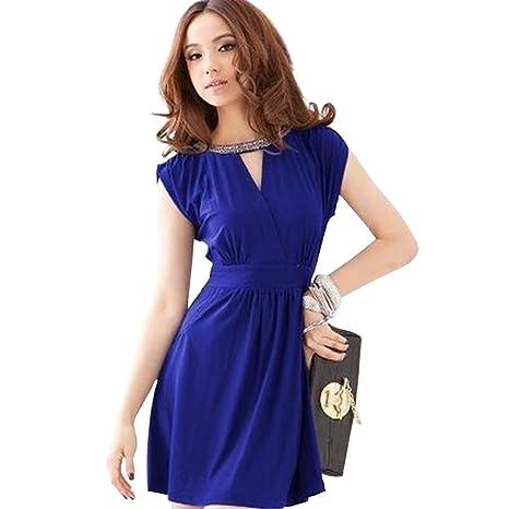 Dayiss ® señoras elegantes vestido de verano sin mangas del V-cuello corto de mini