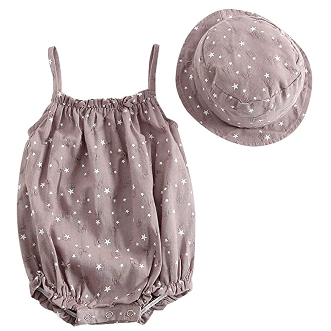 a6eb00019 Amazon.com: HZYBABY Baby Girl Spaghetti Strap Sleeveless O Neck Romper  Jumpsuit Playsuit with Hat: Clothing