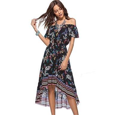 Ansenesna Robe Longue Femme ete 2018 Elegante Vintage Chic Simple Casual Manches  Courtes au Large de daf6050ddd12