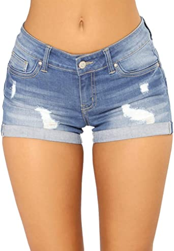 Aden Femmes Taille Basse Shorts Mini Short Jeans Court Slim fit Stretch Shorts