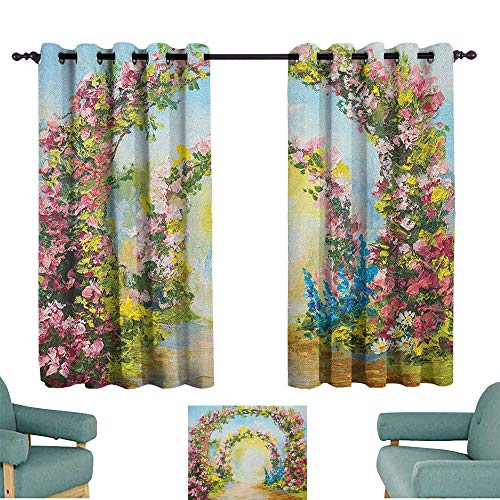 Country,Print Decorative Window Drapes Colorful Floral Arch in The Summer Park Romantic Feminine Boho Paint Style Print 42