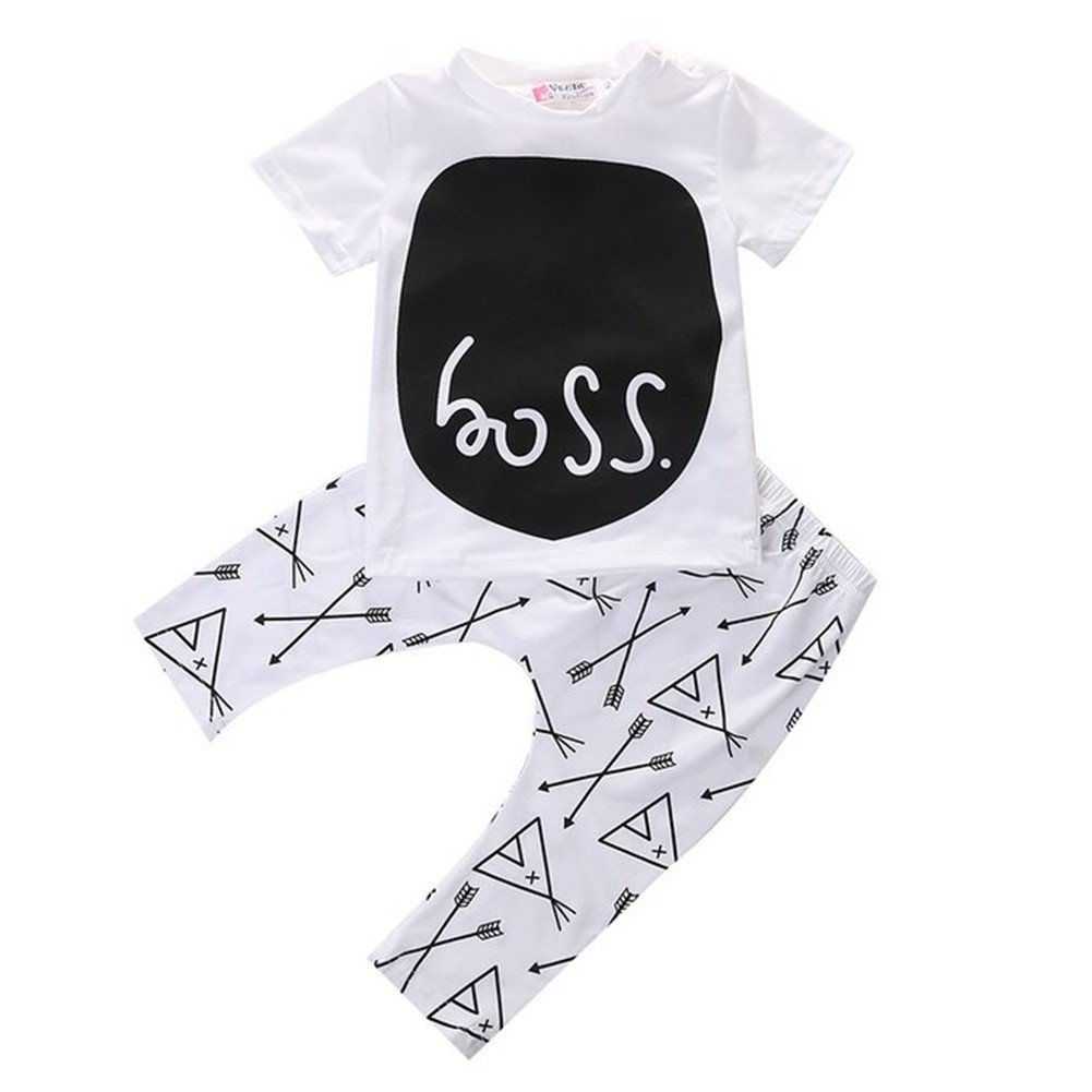Baby Boys Short Sleeve BOSS Print T-shirt and Harem Pants Outfit Set Cotton Blend