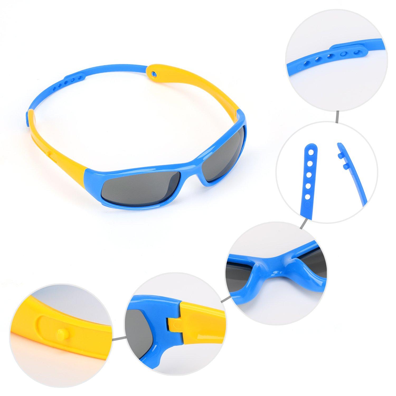 Hifot bébé garçon fille lunettes de soleil, protection UV Polarized Toddler  lunettes de soleil, flexibles enfants lunettes de soleil - 6 mois à 3 ans   ... bd988113a562