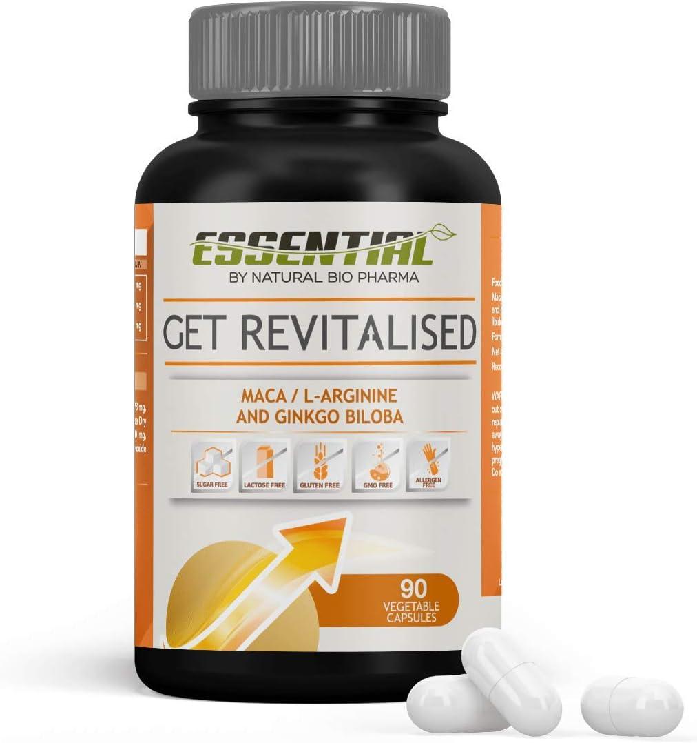 Potente Vigorizante natural | Booster de Testosterona | Maca Andina Pura + L- Arginina LKG + Ginkgo Biloba | Acción Afrodisiaca natural y estimulante muscular | Potencia tus entrenamientos | 90 Caps.