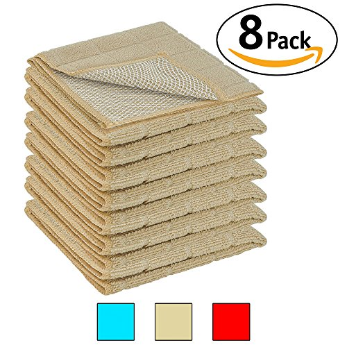 DecorRack 8 Pack Scrubbing Dish Cloths, Microfiber, 12 x 12 inch Kitchen Towel With Poly Scour Side, Perfect Cleaning Cloth for Washing Dishes, Kitchen, Bar, Counter and Car, Beige (Pack of 8)