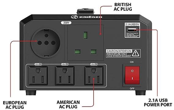 KRIËGER 1700 Vatios Transformador de Voltaje. Este Transformador convierte la de 220/230 voltios a 110/120 voltios y a la inversa.