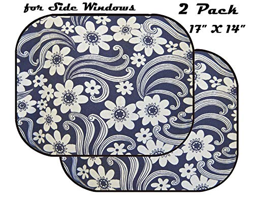 (MSD Car Sun Shade for Side Window - UV Protector for Baby and Pet - Block Sunlight - Image of Pattern Background Floral Illustration Seamless Abstract Nature Flower Wallpaper Vector Design decoratio)