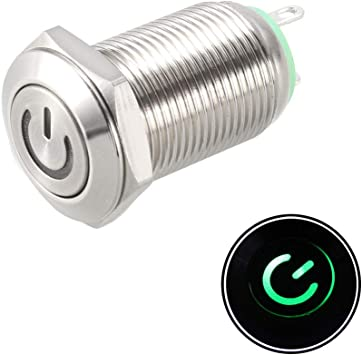 uxcell Momentary Metal Push Button Switch Flat Head 12mm Mounting Dia 1NO 3-6V Red LED Light