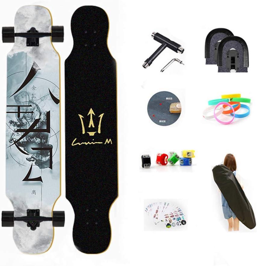Drop-Through Freeride Skate Cruiser Boards 8 Capas Flexible de Arce por Adulto Principiante Rodamientos ABEC Alta velicidad WRISCG Longboard Tabla Completa 25x107cm Skateboard