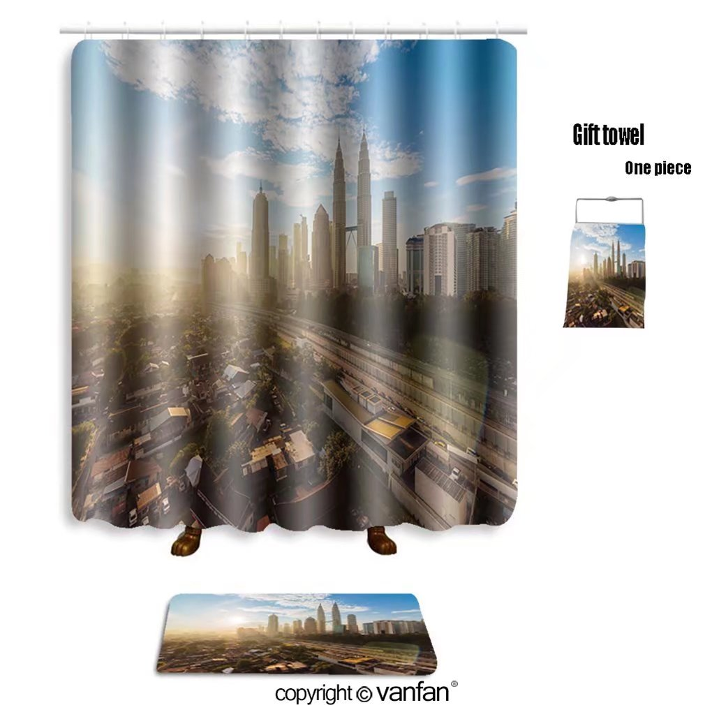 vanfan bath sets with Polyester rugs and shower curtain Kuala Lumpur city center during a clear sunri shower curtains sets bathroom 72 x 96 inches&31.5 x 19.7 inches(Free 1 towel and 12 hooks)