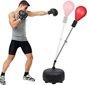Midkawe Punching Bag with Stand for Adults & Kids, Adjustable Height Free Standing Boxing Reflex Bag, Ideal for MMA Reflex Speed Training, Fitness,Punching and Muscle Building