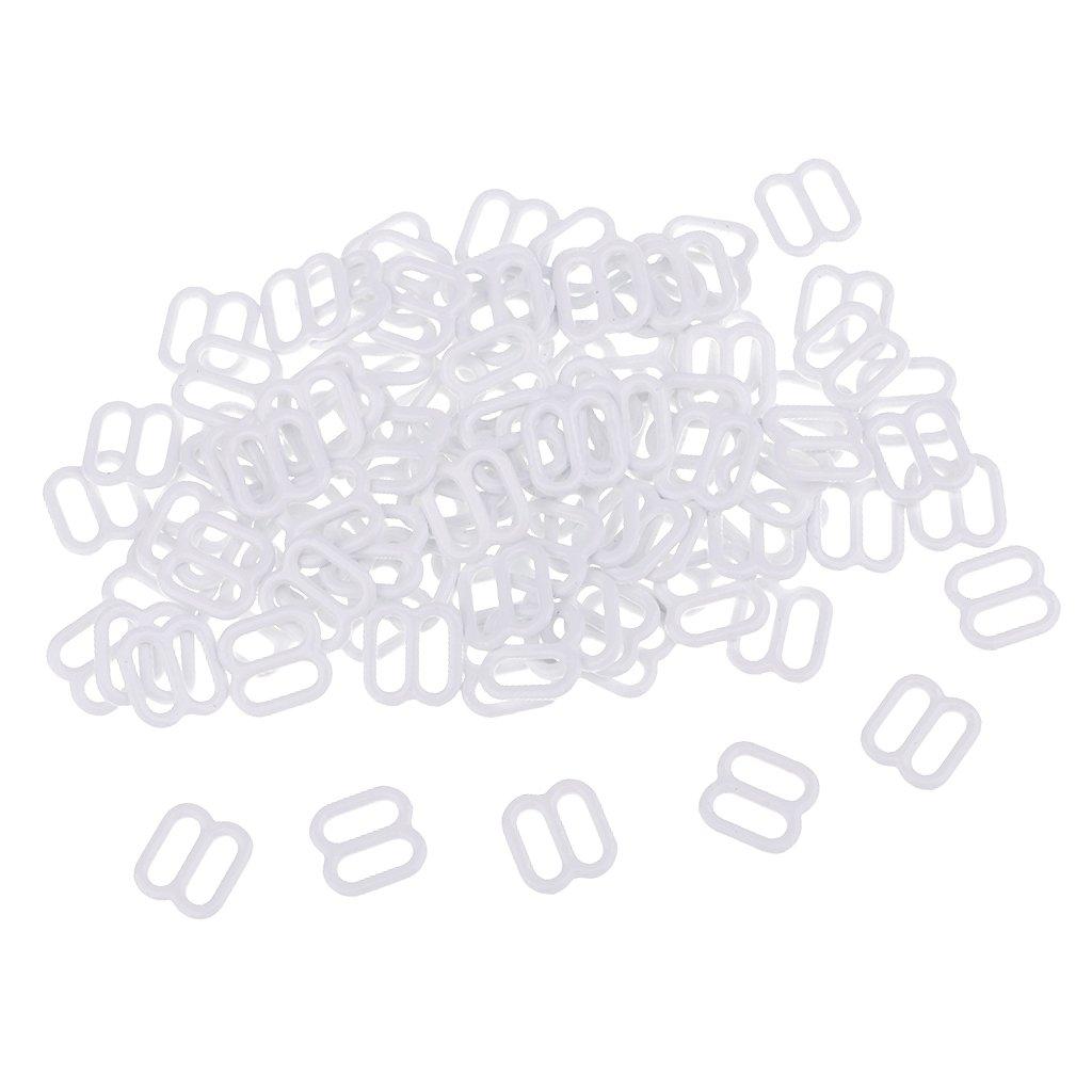Blanco piaceto 100pcs Metal Sujetador Correa Ajustadores Ropa Interior Sliders Hebilla Bikini Sujetador De Costura 8 mm