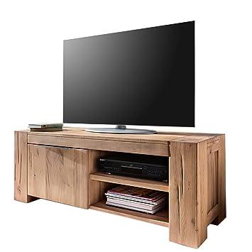 tv lowboard fernsehschrank unterschrank granby 130 cm massivholz holz eiche massiv balkeneiche natural breite