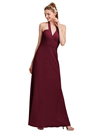 AWEI V-Neck Bridesmaid Dress Long Sleeveless Prom Dress With Pleats Backless Evening Dress For